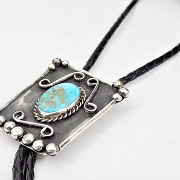 Sterling Silver Royston Turquoise Bolo Tie, Hand Crafted Natural Stone, 1960s, Vintage Accessories Bolo