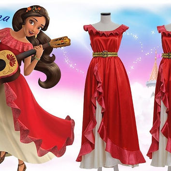 Elena of Avalor Princess Elena Cosplay Costume Red Luxury Fancy Princess Dress Halloween Costumes For Women Custom Made