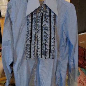 VINTAGE  70s AFTER SIX Ruffle Tuxedo shirt *  blue ans navy prom formal tux dress shirt sz 15 1/2-33  with cuff links
