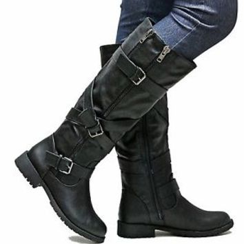 New Womens ESo Black Riding Knee High Boots Sz 5.5 to 11