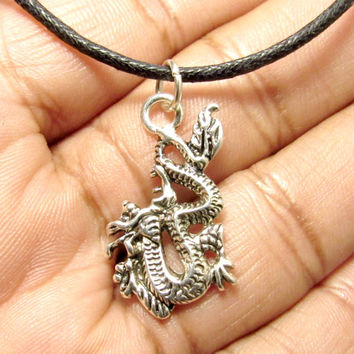 Antique Silver Chinese Dragon Charm on Black Adjustable Choker Necklace