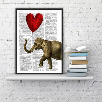 Elephant with a Heart shaped balloon - Love book print  - Elephant in love - Printed over vintage dictionary book page