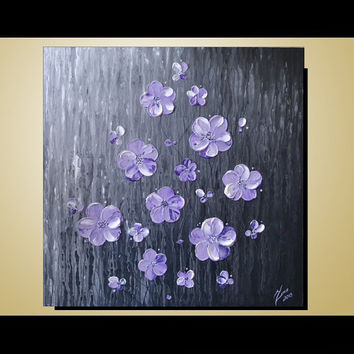 ORIGINAL Textured Art, Contemporary, White Lavender Purple Blossom Painting, Home decor, Landscape, Ready to hang 24x24 Artwork
