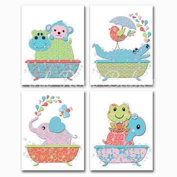 Neutral animal bathroom wall art twins bath decor elephant frog crocodile monkey artwork baby girl poster nursery print colorful decoration
