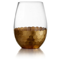 Daphne Gold Stemless Glasses, Set of 4, Wine Glasses