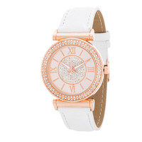 Geneva Crystal Roman Numeral Rose Gold and White Watch