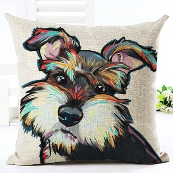 Square Cotton Linen colourfu Bull Terrier Painted Bull dog dachshund 3D Cheap Cushion Cover For Home Sofa Pillow Case Cojines