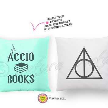 Accio books and deathly hallows set of 2 cushion covers-Potter quote pillow case-custom pillow-harry potter home decor-NATURA PICTA NPCP030