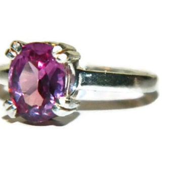 Alexandrite Ring, Color Changing Stone, Sterling Silver