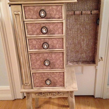 Distressed Floral Taupe Repurposed Jewelry Armoire- Custom Made To Order