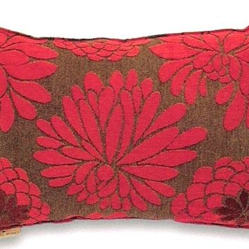 "Edwin chenille red large flower pattern print 14"" x 22"" throw pillow"