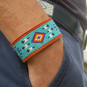 Native American Loom Beaded Leather Bracelet, Genuine Leather Cuff, Eye of a Medicine Man Symbol