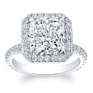 Platinum diamond halo engagement ring 0.60 ctw G-VS2 quality with 2ct natural white sapphire center Princess Cut