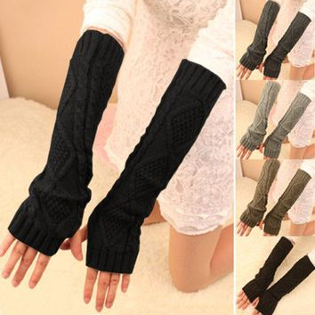 PEAPHY3 Fashion Women Winter Warm Knitted Fingerless Long Gloves Mitten Hand Arm Warmer Glove 5 Colors A1
