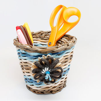 Handwoven Paper Basket, Recyled Newspaper, Flower, Basket Weaving, tan brown blue stripes, office storage, students grads creative gift