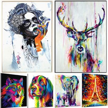 Brunshop Cartoon Animal Pattern Fully Painted Oil Painting Digital Pictures Coloring on Canvas Modern Gifts Home Decoration