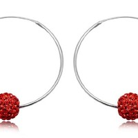 925 Sterling Silver Swarovki Red Crystal 10mm Bead Hoop Earring Jewelry