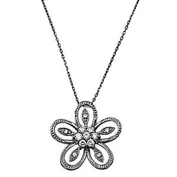 English Sterling Silver Floral Cubic Zirconia Necklace