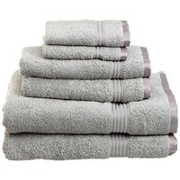 Superior Luxurious Soft Hotel & Spa Quality 6-Piece Towel Set, Made of 100% Premium Long-Staple Combed Cotton - 2 Washcloths, 2 Hand Towels, and 2 Bath Towels, Silver