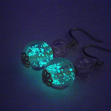 Pink Dangle Earrings - Glow in the Dark Earring - Party Jewellery - Pastel Jewelry - Glass Beads - Valentines day gifts