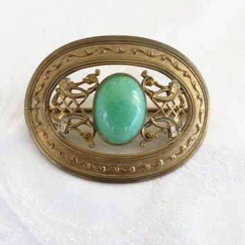 Art Nouveau Brooch, Peking Glass Center Stone, Filigree Work, Antique Sash Pin