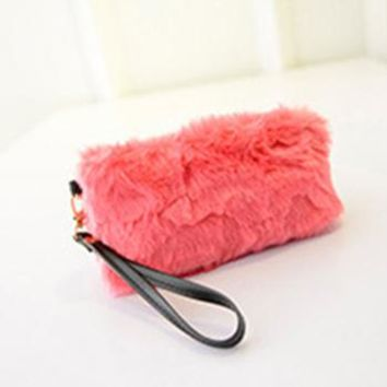 Women's clutch envelope bag female Handbag purse bags Bolsas Bolsos Sac Femme Winter Faux Fur Rabbit Hair Clutch Bag Mink
