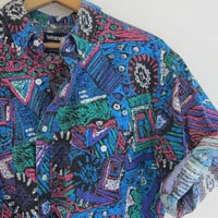 vintage cotton boyfriend shirt. southwestern resort wear. blue tribal print. Wrangler western shirt
