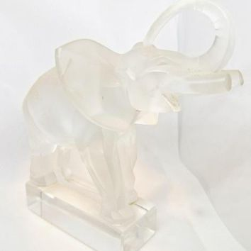 Lalique  Art Glass Crystal Elephant Sculpture Figure Paperweight #11801 6""