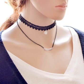 Shiny Jewelry Gift New Arrival Velvet Korean Stylish Layered Simple Design Innovative  Faux Gem Lace Chain Necklace [7786549895]