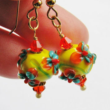 Sunflower Lampwork Earrings, Orange Teal Yellow Raised Glass Beads, Swarovski Crystals, 14k Gold Filled, Handmade Gift, FREE SHIPPING