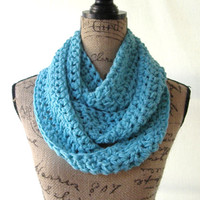 Turquoise Blue Scarf Fall Winter Women's Accessory Infinity Scarf