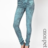 ASOS PETITE Ridley Supersoft High Waisted  Ultra Skinny Jeans In Aqua Marble Wash at asos.com