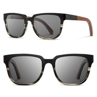 Men's Shwood 'Prescott' 52mm Titanium & Wood Sunglasses - Black/ Grey/ Walnut/ Grey