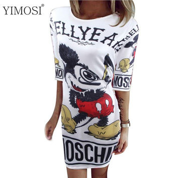 YIMOSI Summer Autumn New Fashion Dress For Women Cartoon Mickey Mous Miki Print O-Neck Mini Dresses Vestido Party Beach Dress