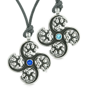 Supernatural Wolf Paw Amulet Powers Love Couple Best Friends Royal Sky Blue Crystals Adjustable Necklaces