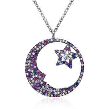 Womens .925 Silver Necklace Moon Star Zircon Fashion Trend Necklace