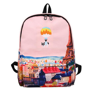 Brand Hot Balloon Cute Animal Embroidery Canvas Backpack Landscape Printing Teenagers School Bag Casual Large Travel Bag Mochila