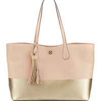 Perry Colorblock Leather Tote Bag, Light Oak/Gold