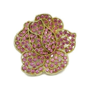 WEISS Pink Rose Rhinestone Gold Tone Flower Brooch, Vintage Pin