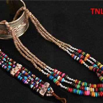 TNL414  Tibetan colorful Rainbow Yak Bone jewelry sets,Beaded Necklace and bracelets