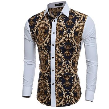 Men Shirt Luxury Brand Male Long Sleeve Shirts Casual Mens Great Body Pattern Printing Slim Fit Dress Shirts Mens Hawaiian