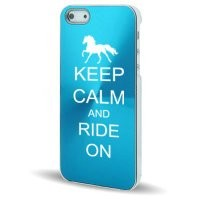 Apple iPhone 5 Light Blue 5C394 Aluminum Plated Hard Back Case Cover Keep Calm and Ride On Horse