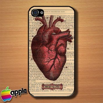 Vintage Red Heart Who Do You Love Custom iPhone 4 or 4S Case Cover | Merchanstore - Accessories on ArtFire