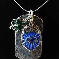 Police Shield Crystal Charm with Irish Shamrock Hammered Tag Necklace
