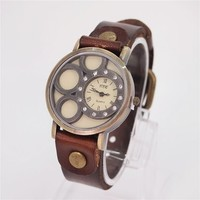 Bubble Round Dial Watch with Leather Belt 71 DP 0604