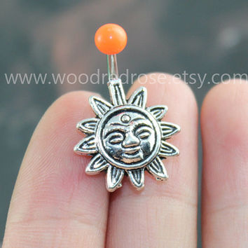 Sun Belly Button Rings with orange top ball, sun flower Navel jewelry,friendship belly rings,Sun Dangle Belly Ring , Belly Button Piercing