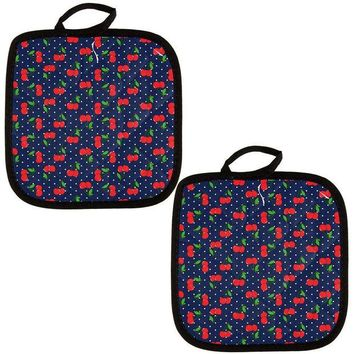 DCCKU3R Fruit Cherry Cherries Repeat Pattern All Over Pot Holder (Set of 2)