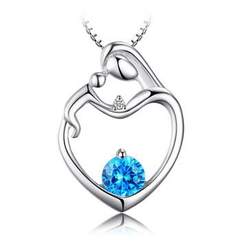 Jewelry Palace Heart Mother Child 0.8ct Natural Blue Topaz Diamond Accented Pendant Necklace 925 Sterling Silver 18 Inches