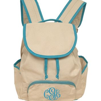 Monogrammed Aqua Canvas Back Pack | School Accessories | Marley Lilly