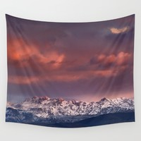 "Mysterious mountains"". Sunset at the mountains. Wall Tapestry by Guido Montañés"